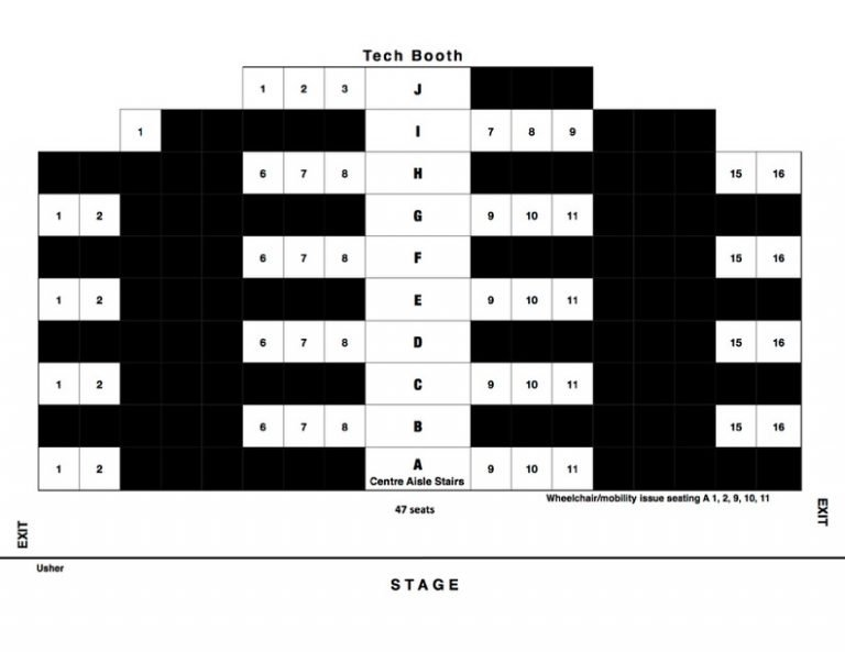 chart showing COVID-19 seating at Heritage Playhouse